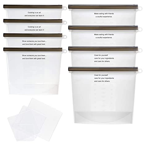 Juego de 8 bolsas reutilizables de silicona con 4 ...