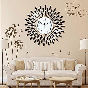 Flashing- Europäische Persönlichkeit Stumm Große Wanduhr Moderne Wohnzimmer  Kreative Mode Einfache Dekorative Wanduhr ( Farbe : Schwarz , größe : 60 )