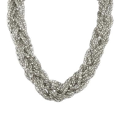 metà fuori d38ff 188a5 Lux Accessories-Collana intrecciata in tessuto.: Lux ...