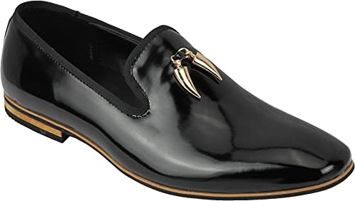 Mens Real Suede /& Patent Leather Black Loafer Retro Intalian Style Slip on Shoes