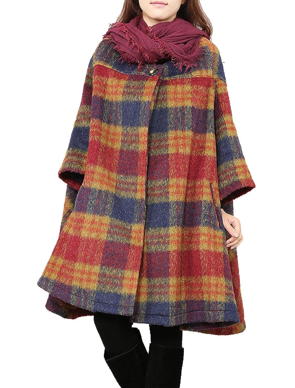 Red Fancy beautystyle Women's Winter Coat Cape Woolen Jacket Plaid Bat Sleeve Loose Coat