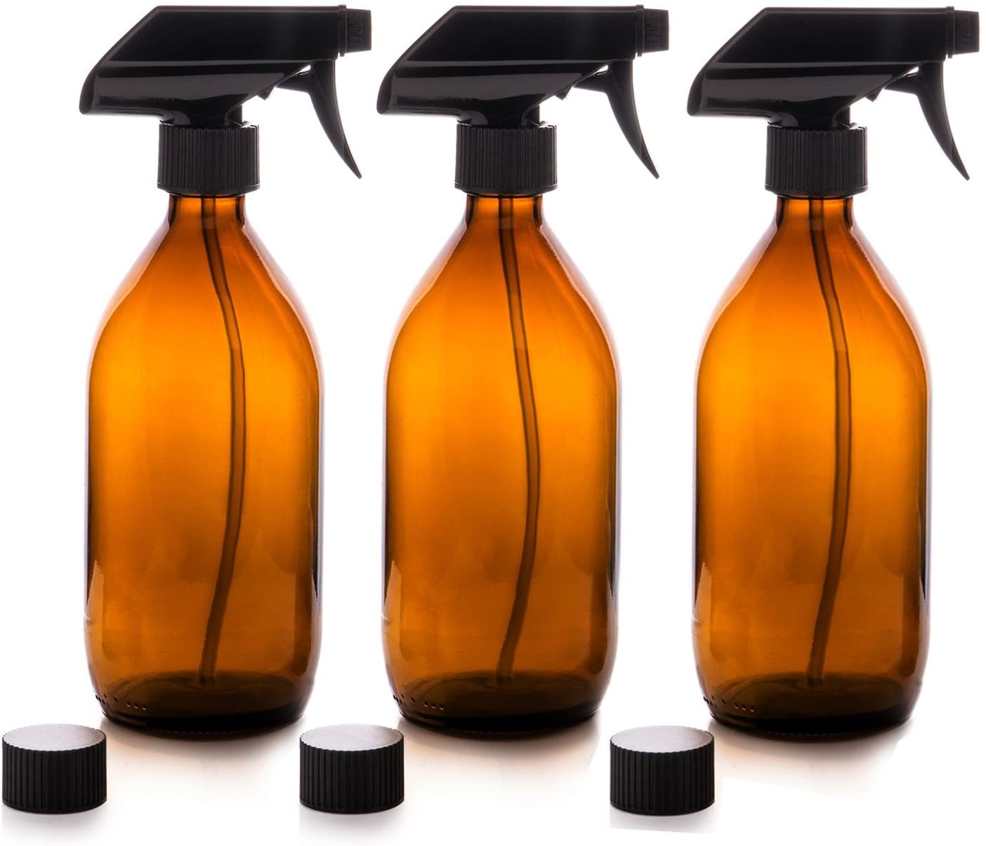 Nomara Organics Vaporizador en Botella de Cristal Ámbar Set 500 mL. Reutlizable / Eco-friendly / Orgánico / Limpieza / Plantas / Cabello / Bricolaje (3 x 500mL)