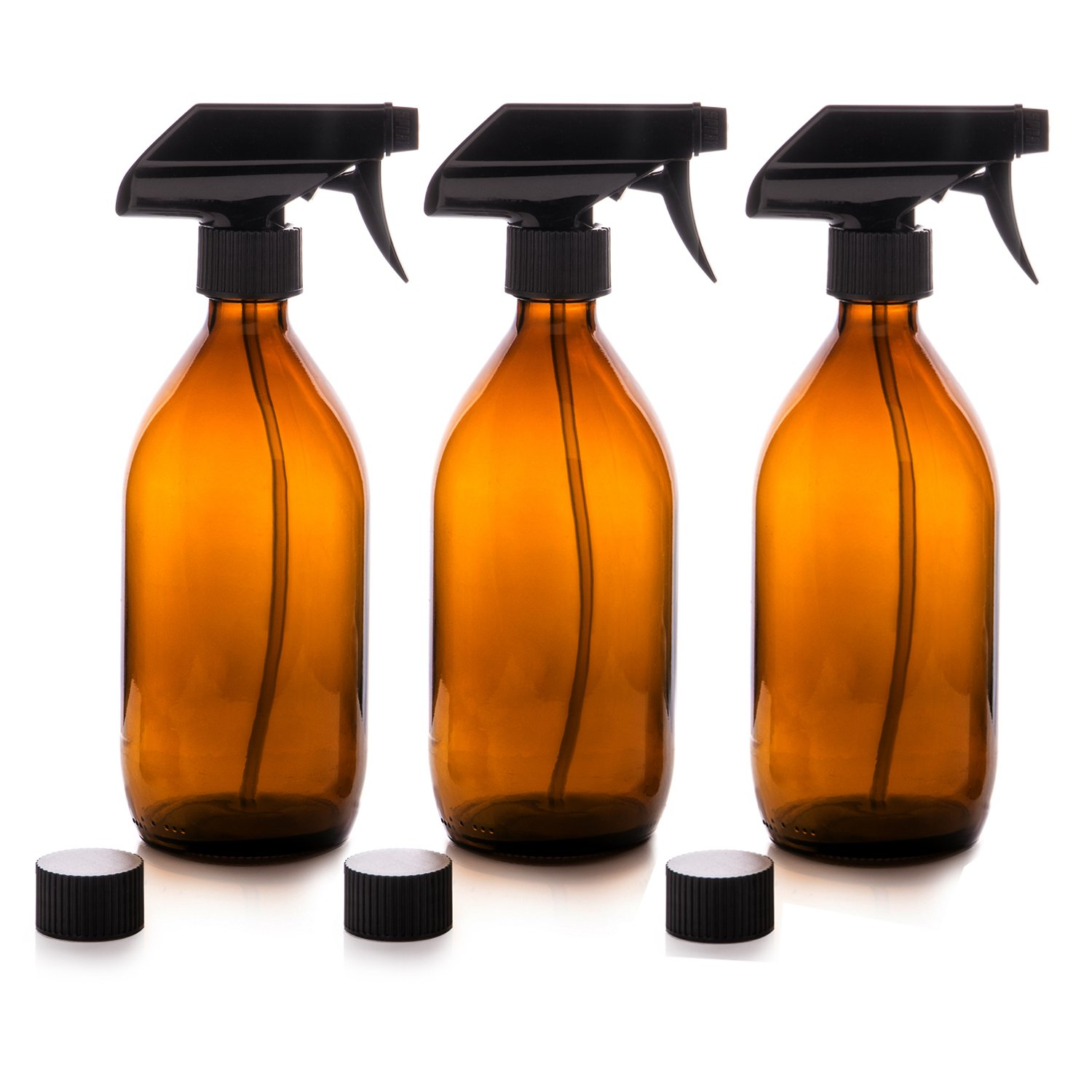Premium Amber Glass Spray Bottles 500ml With Fine Mist Spray Trigger. Re Usable Bottles For Organic Essential Oils/Aromatherapy Oils, Eco Friendly Cleaning Products, Pet Care, Misting Plants And Flowers, Hair Care Spray And Mister (Amber, 3x 500ml) by Amazon