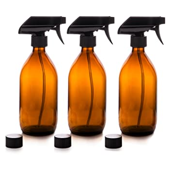 Nomara Organics Vaporizador en Botella de Cristal Ámbar Set 500 mL. Reutlizable / Eco-friendly / Orgánico / Limpieza / Plantas / Cabello / Bricolaje (3 x ...