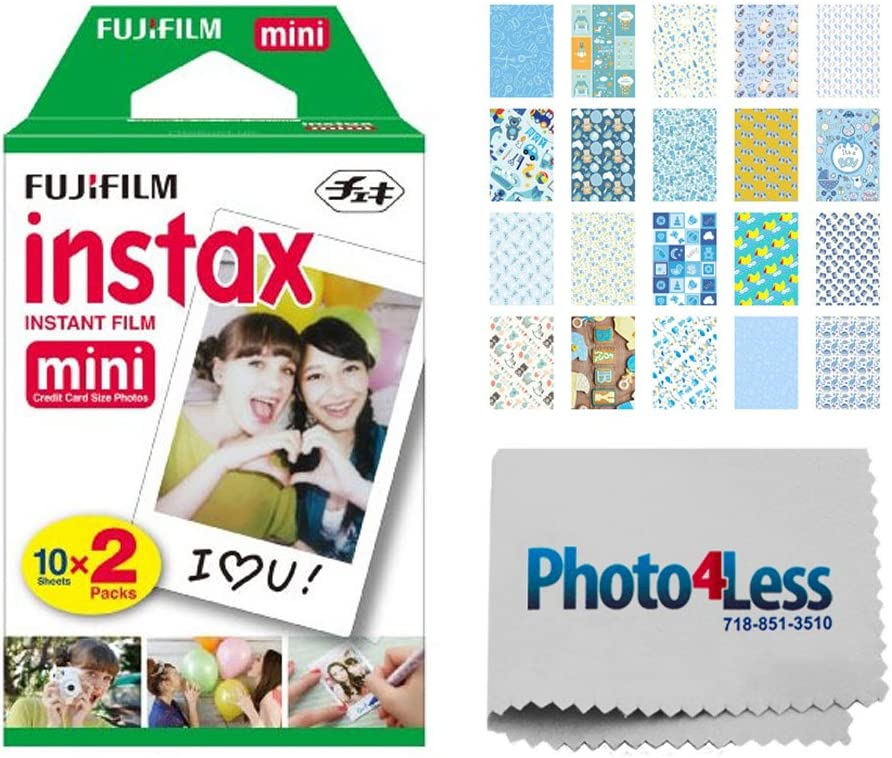 Fujifilm instax Mini Instant Film (20 Exposures) + 20 Sticker Frames for Fuji Instax Prints Baby Boy Themed Package + Cleaning Cloth – Deluxe Accessory Bundle