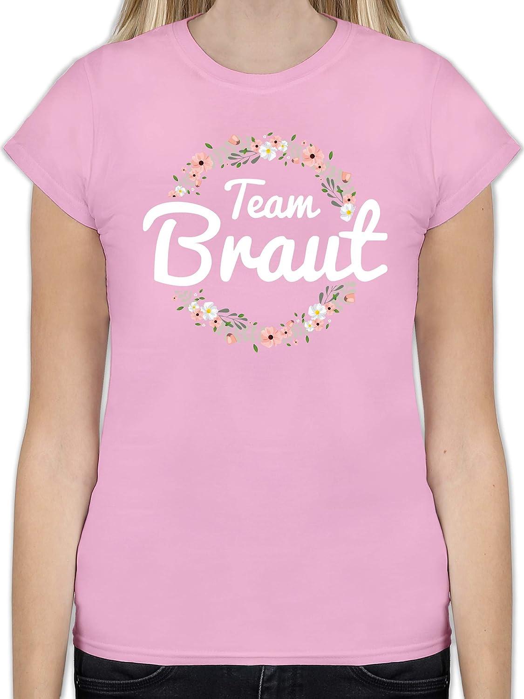JGA Junggesellinnenabschied Tailliertes Tshirt f/ür Damen und Frauen T-Shirt Shirtracer Team Braut Blumenkranz