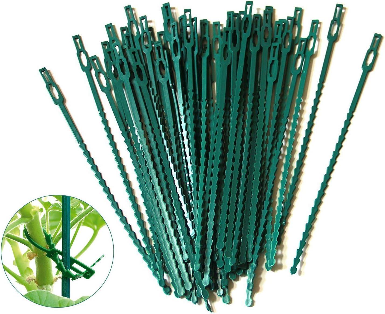 auvstar 100 piezas Fijación Reutilizable para Plantas, Lazos de Encuadernación de Plantas, Plant Corbatas,Jardinería Planta Lazos Bridas de Plástico Flexibles