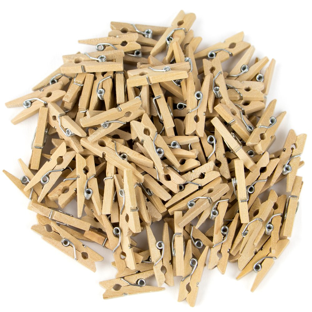 100-pack Minipins Mini Clothespins - Tiny Wooden Clothes Pins for Crafts by Studio Nouveau 796520355538