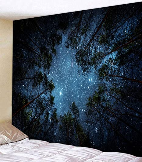 Forest Starry, 80x60//203x153cm LOMOHOO Forest Starry Tapestry Wall Tapestry Wall Hanging Galaxy Tapestry Hippie Milky Way Tapestry Night Sky Tapestry Mandala Bohemian Tapestry for Bedroom Dorm Decor