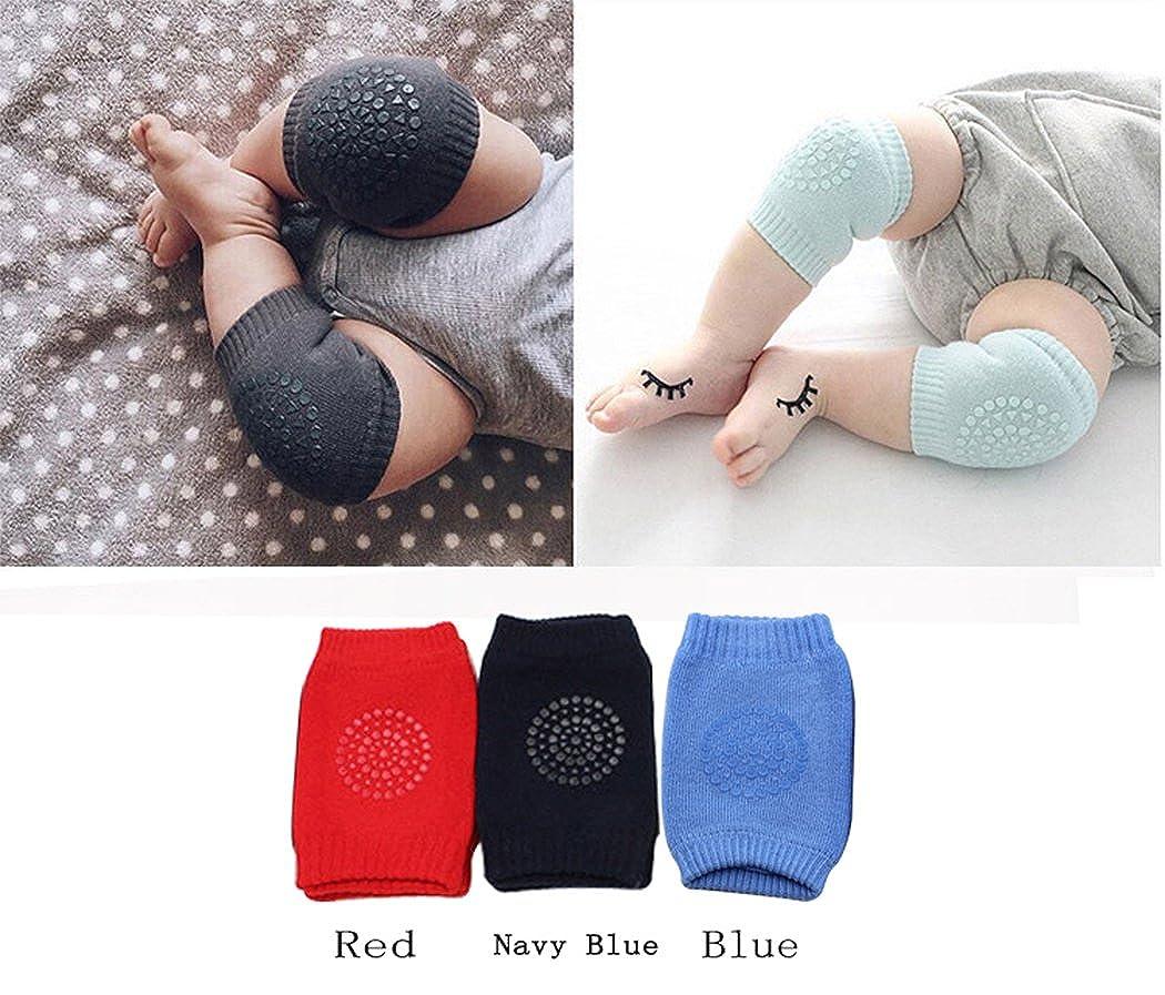 Hillento Unisex Baby kriechende Anti-Rutsch-Knieschoner, Kleinkind Knie Ellenbogen Pads kriechende Schutz 3 Paare (marineblau blau rot)