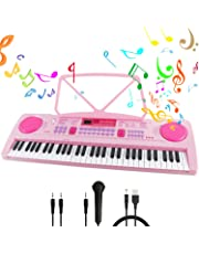 Piano Keyboard 61-Key Portable Multi-function Keyboard Piano with Music Stand & Microphone Chargable Piano