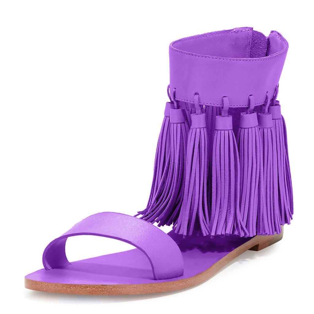 YDN Women Fringes Flats Tassels Open Toe Sandals Low-Heel Back Zipper Shoes B01N6A5A9M 13 B(M) US Purple