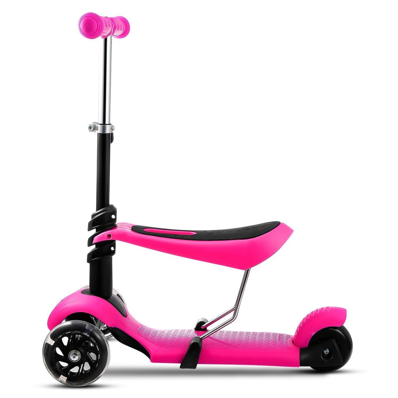 mymotto 2 en 1 Scooter Patinete para Niños con asiento de 3 ruedas Manillar Ajustable Altura Ajustable (Rosa)