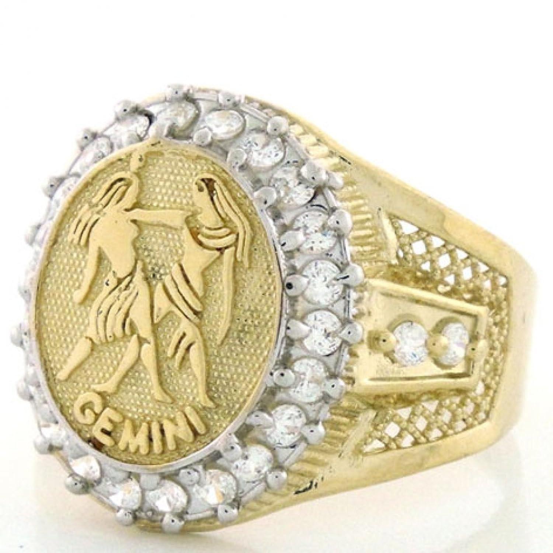 10k Solid Yellow Gold Mens Zodiac CZ Ring - Gemini