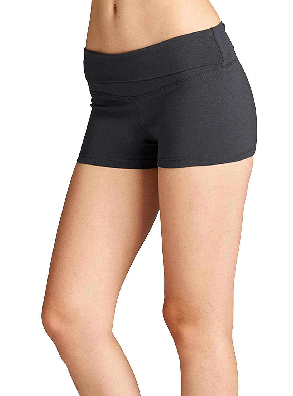 Hollywood Star Fashion Womens Yoga Fold Over Shorts