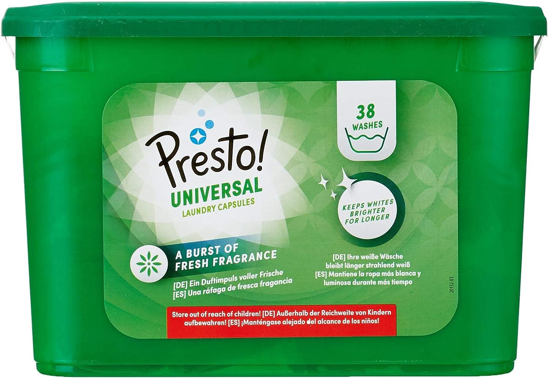 Marca Amazon - Presto! Detergente universal en cápsulas, 152 lavados (4 Packs, 38 cada uno)