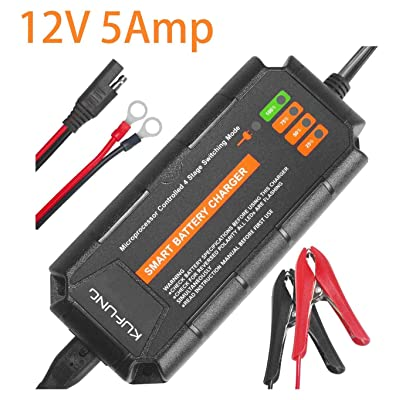 Trickle Charger for 12 Volt Batteries, KUFUNG 12V 5A Smart Automatic Battery Charger, Deep Cycle Battery Maintainer for Car, Boat, Automotive, Marine, Motorcycle, Trolling Motor (XL: 5A): Automotive