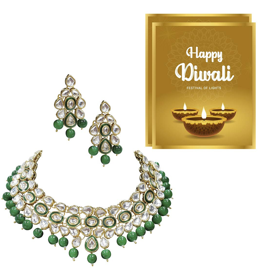 Indian New Gold Plated Jadau Pearl Green Ring Ethnic Partywear Wedding Jewellery