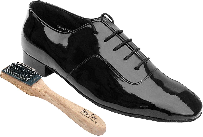 "Very Fine Men's Salsa Ballroom Tango Latin Dance Shoes 917101 Bundle with Dance Shoe Wire Brush Heel 1"""