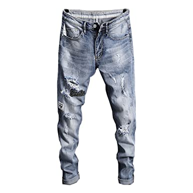 72527341514b Zcaosma 2018 Men Ripped Jeans Summer Thin Stretch Trousers Holes Casual  Pants at Amazon Men s Clothing store