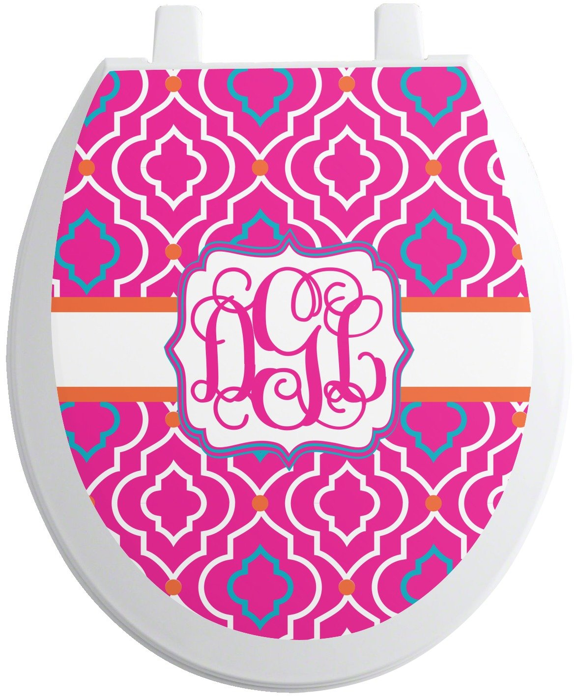 Colorful Trellis Toilet Seat Decal - Round (Personalized) 60%OFF