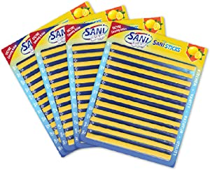 SANI 360° Sani Sticks Drain Cleaner and Deodorizer | Non-Toxic, Enzyme Formula to Eliminate Odors and Helps Prevent Clogged Drains | Septic Tank Safe | 48 Pack, Lemon