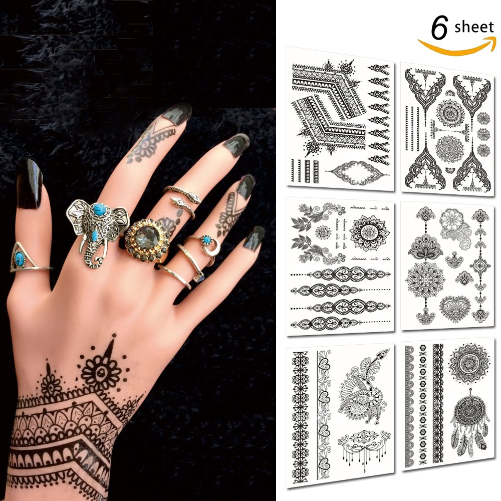 Leoars 6 Sheets Black Henna Tattoos Temporary Classic Mandala Lace Tattoos Stickers Inspired Body Paints for Women (Black)