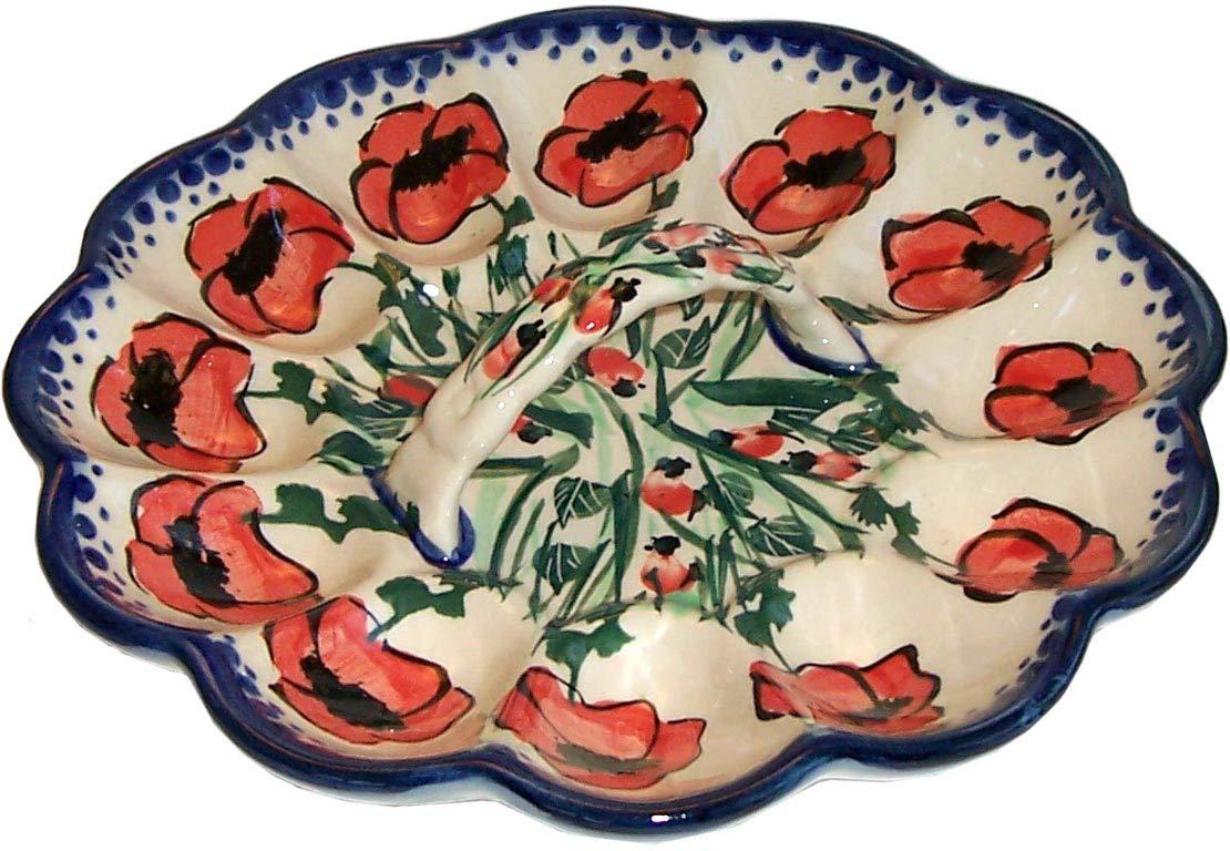 Boleslawiec Polish Pottery Deviled Egg Serving Plate Eva's Collection''Poppy Field''