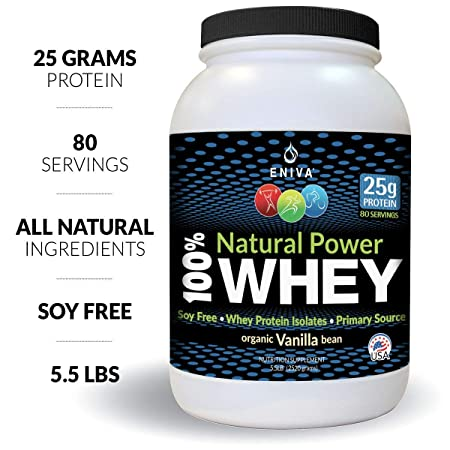 ENIVA Whey Protein Powder Mix Whey Protein Concentrate, Isolate. Hydrolyzed Whey Protein Isolate, Clean Pure, Vanilla Flavor, Soy Free, Non-GMO, 5 Grams BCCAs. 5.5 Pounds .