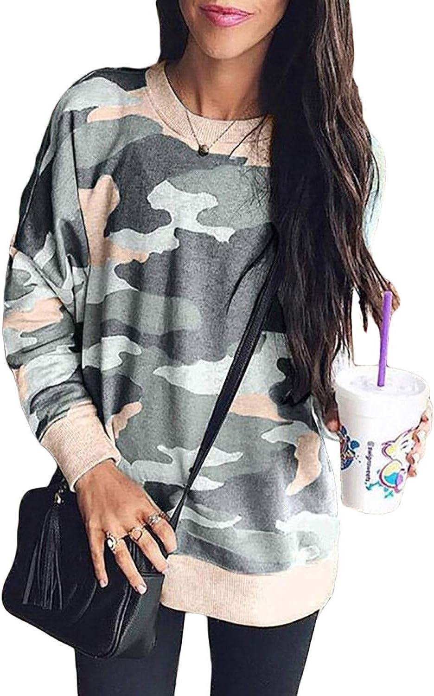 Sidefeel Women Long Sleeve Crewneck Pullover Camo Print Sweatshirt Jumper Top