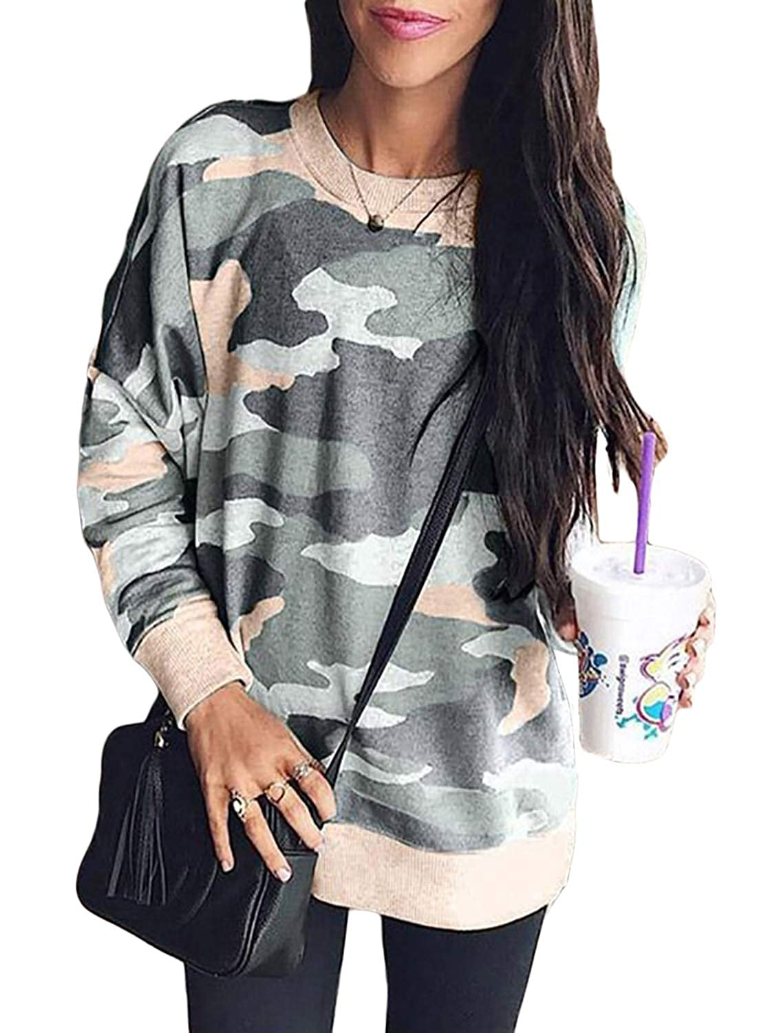 LOSRLY Women Crew Neck Camo Printed Long Sleeve Sweatshirts Casual Blouses Tops YL251694