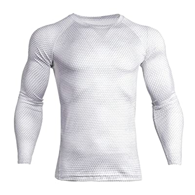 Baoblaze Men White Long Sleeves Sports Shirt Stretchy Fitness T-Shirt Exercise Apparel S-3XL