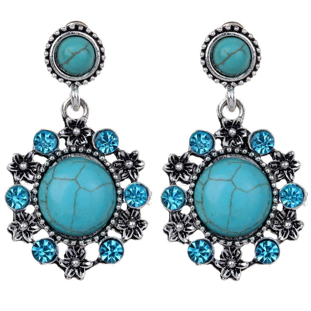 YAZILIND ronde r'tro rimous Turquoise Argent Tib'tain Fleur Crochet sculpt' Pendantes cristal Dangle 1062E0130-R