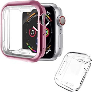 [2 Pack] ALADRS Screen Protector Case for Apple Watch 40mm, Full Protective HD Ultra-Thin Cover Compatible with iWatch Series 4 Series 5 Series 6 SE Bumper Case, Rose Pink+Clear