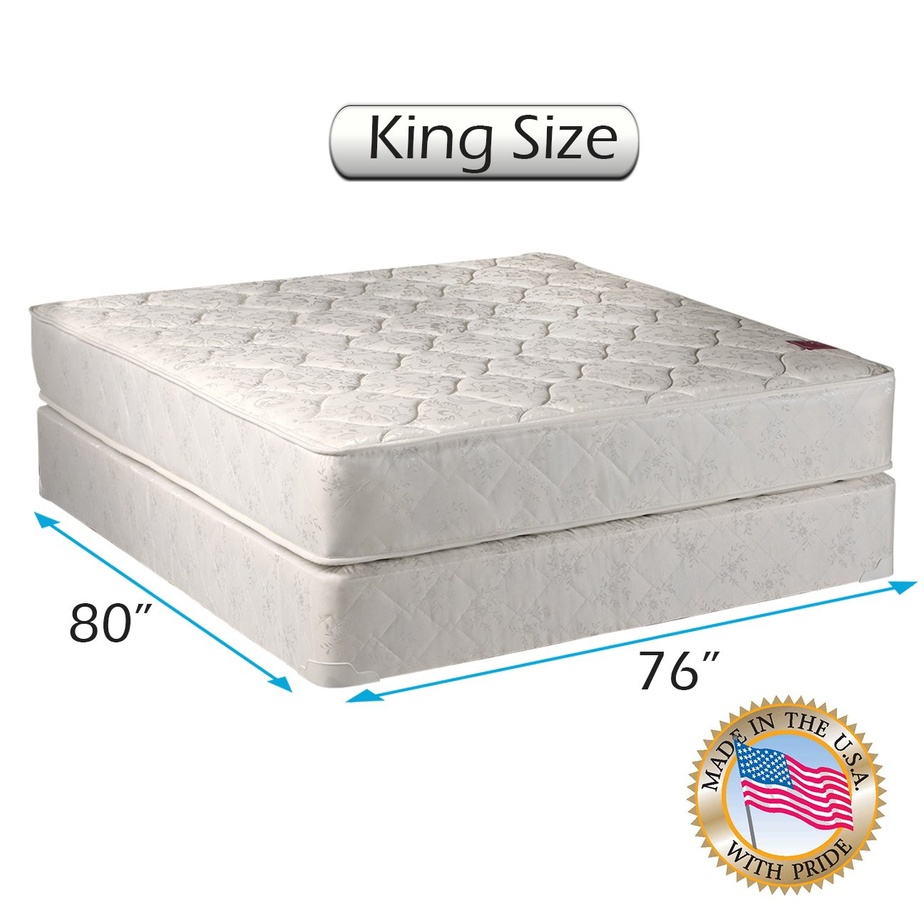 Legacy King Size (76''x80''x8'') Mattress and Box Spring Set - Fully Assembled, Good for your back, Superior Quality - Long Lasting and 2 Sided - By Dream Solutions USA by Dream Solutions USA
