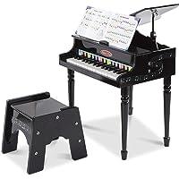 Melissa & Doug Aprende a tocar el piano clásico de cola, teclado mini con 30 teclas que producen sonidos al tocarlas, banqueta que no se vuelca, materiales de alta calidad, 60.071 cm alto x 54.356 cm ancho x 25.527 cm largo