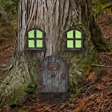 Juegoal Miniature Fairy Gnome Home Window and Door for Trees, Yard Art Garden Sculpture Decoration