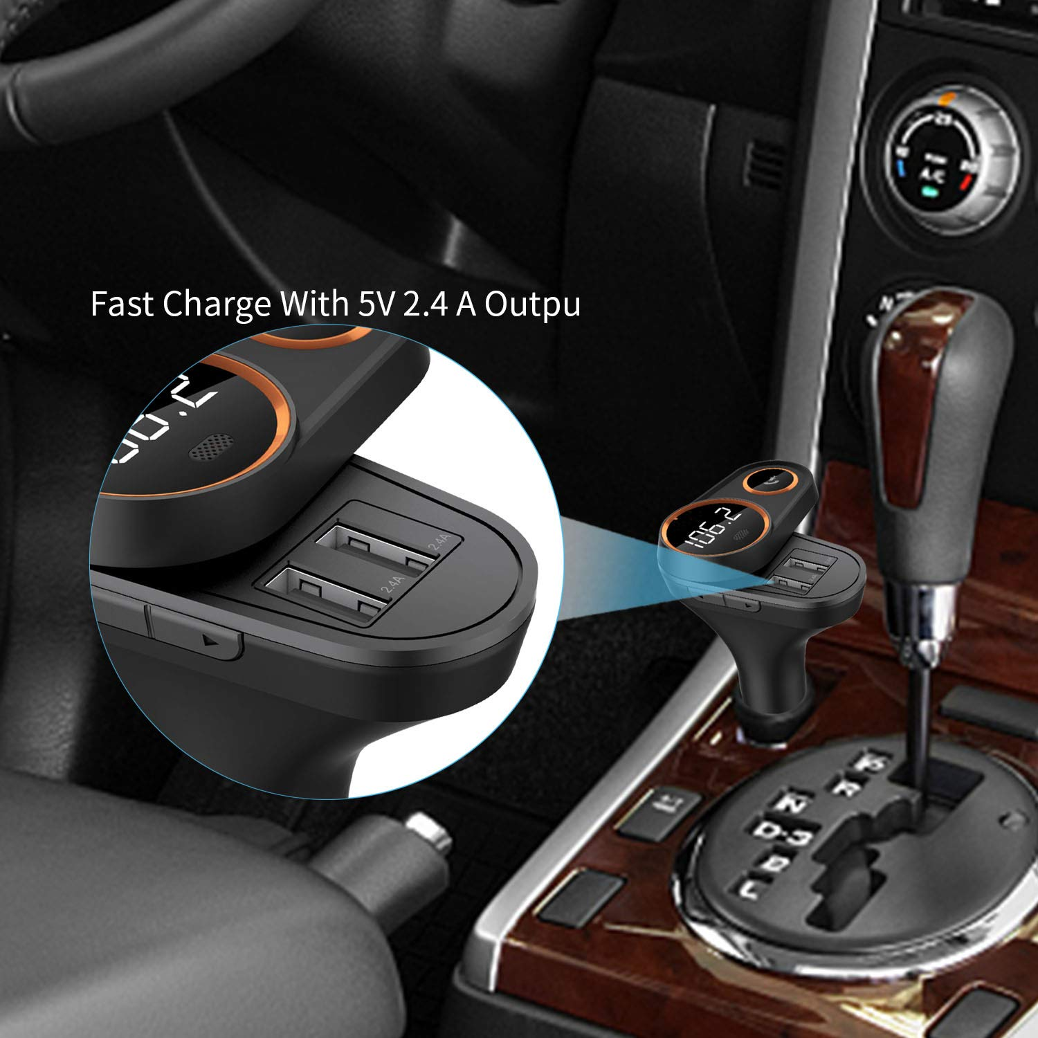 Yehua FM Bluetooth Transmitter Wireless Rotating Design Radio Adapter for car with 5V//2.4A Dual USB Charging Ports and Car Kit Hands-Free Calling FMC43