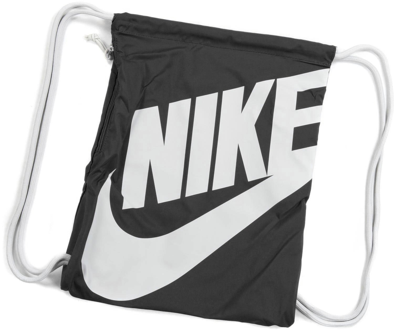 121832eec6b Amazon.com  Nike Heritage Drawstring Gymsack Backpack 400 Denier Sport  Bookbag (Classic Black with Signature White Swoosh)  Sports   Outdoors