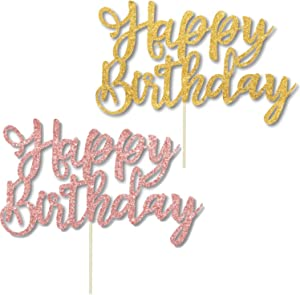 4 Pack Happy Birthday Cake Topper , Color 2 Glitter Gold And 2 Rose Gold Birthday Cake Topper Birthday Party Decorations,1st First Happy Birthday