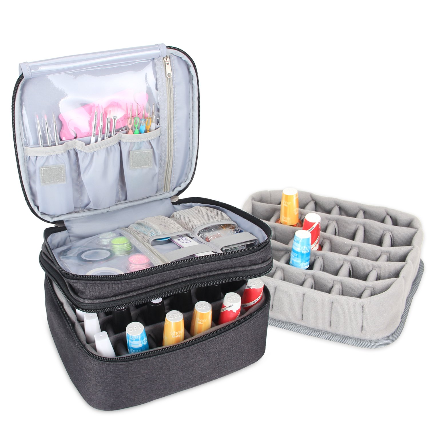 Luxja Nail Polish Carrying Case - Holds 30 Bottles (15ml - 0.5 fl.oz), Double-layer Organizer for Nail Polish and Manicure Set, Black
