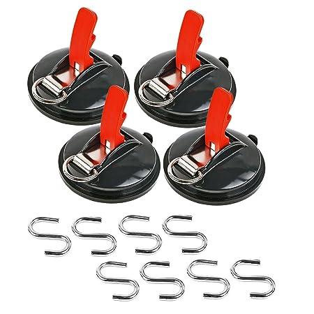 Saugnapf Befestigung max. 10 kg mit S Ring 4er Set Klappsauger für Vorzelte, Sonnensegel, Planen und Fahrzeugabdeckungen