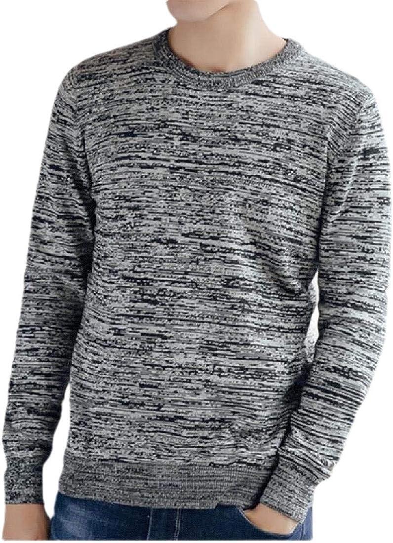 ouxiuli Mens Basic Striped Crew Neck Long Sleeve Cotton T Shirt Shirt