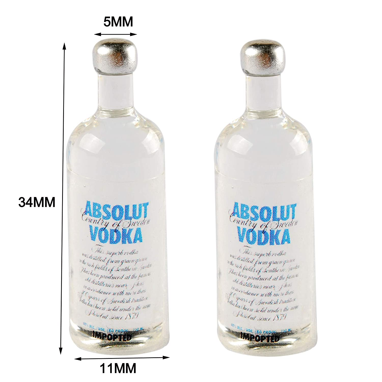 NWFashion Miniature Vodka Wine Bottle for Dollhouse Kitchen Scenery Accessories 2PCS