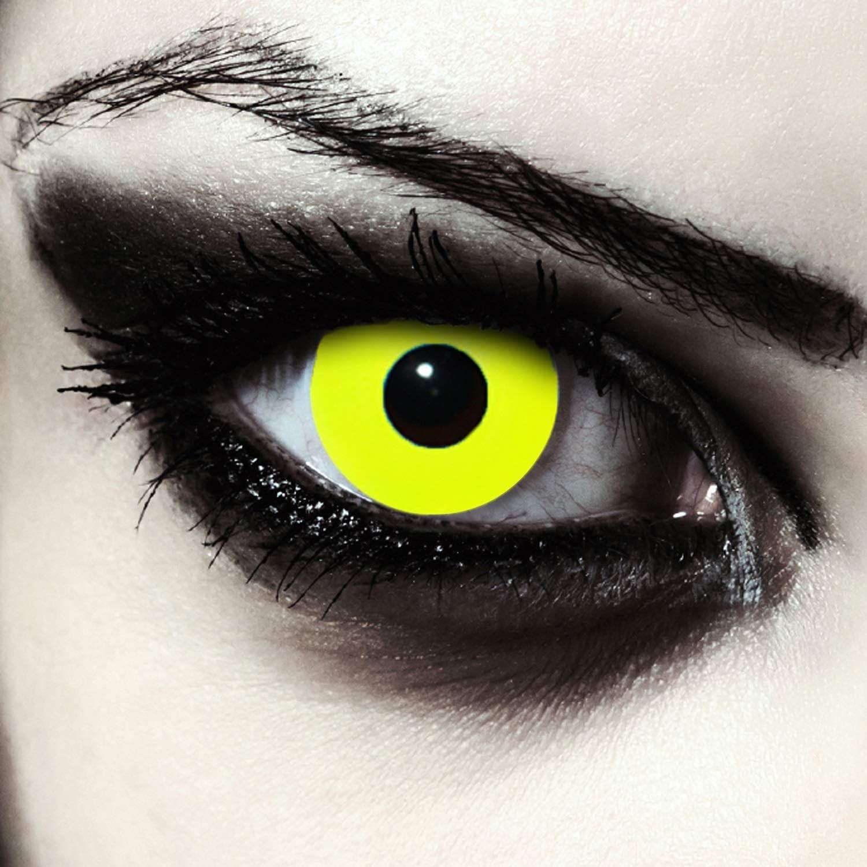 """Designlenses, Dos lentillas de color amarillo totalmente para Halloween exorcista zombie disfraz lentes sin dioprtías/corregir + gratis caso de lente """"Yellow Bigeye"""