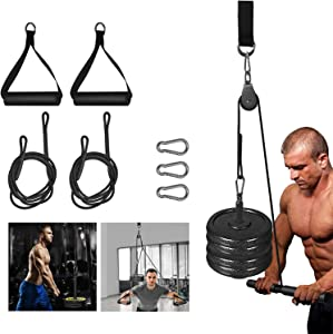Fitness LAT Pull Down Pulley System with Single Handle Bar and Heavy Duty Flying Cable Handles for DIY Home Gyms Garage Arm Forearm Wrist Biceps Triceps Strength Training LAT Cable Pulley System