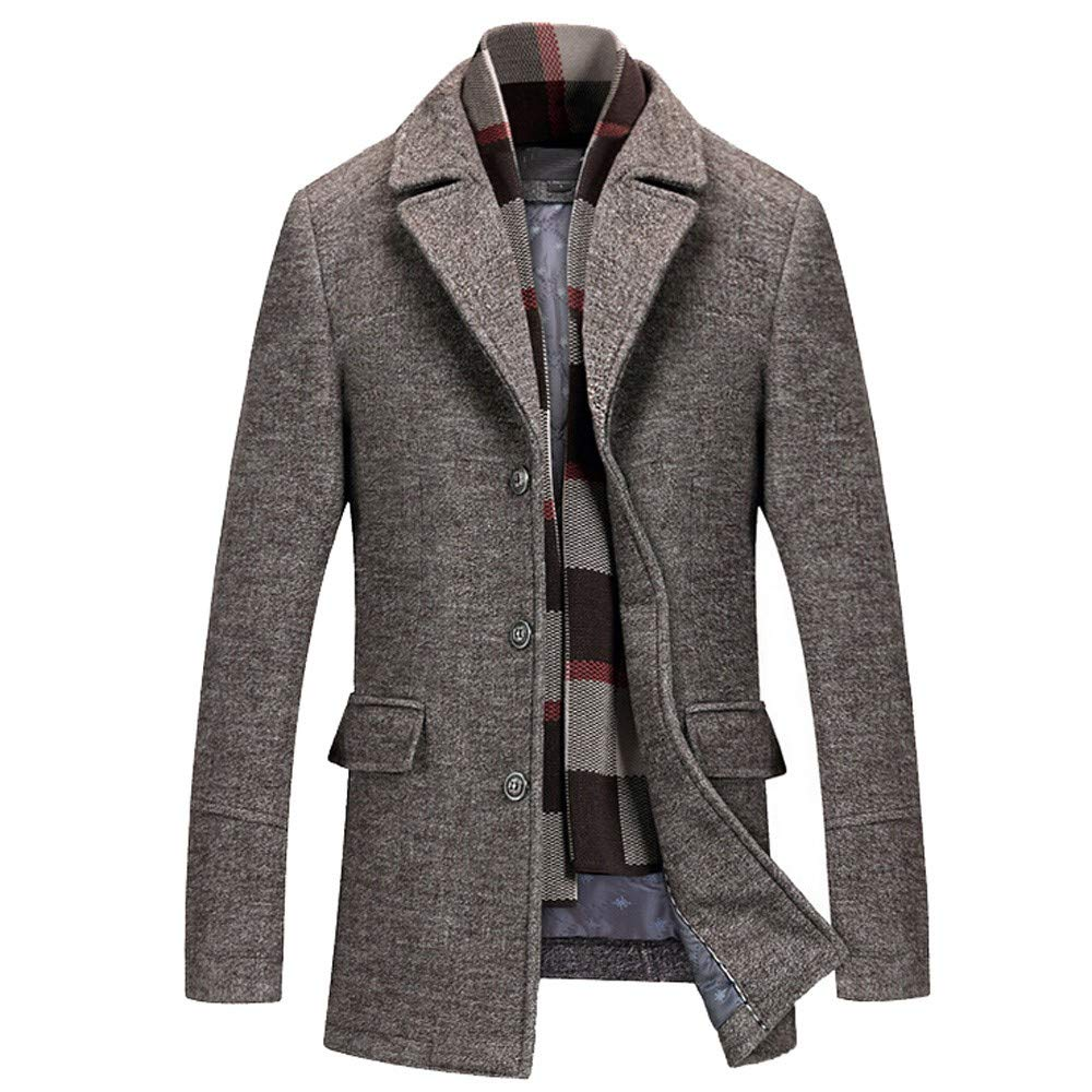 Men's Wool Trench Winter Fashion Formal Business Long Thicken Slim Overcoat Jacket Coffee by Dacawin