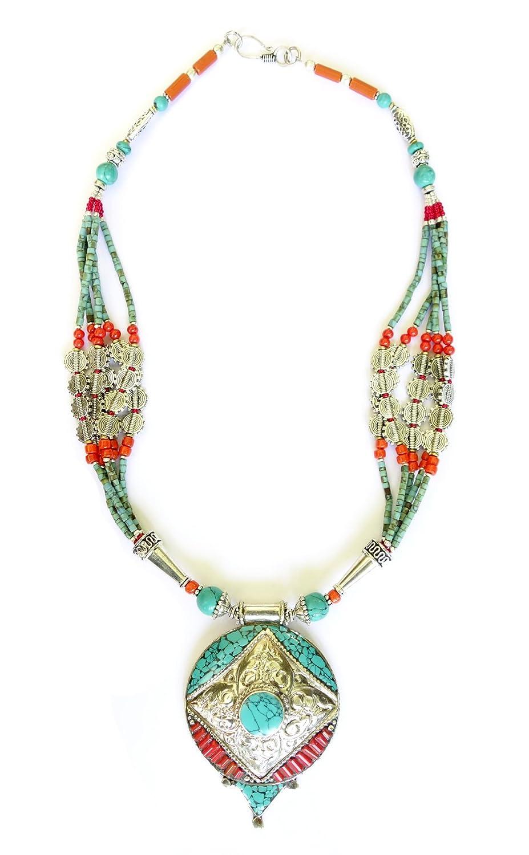 493caa0eac0b Amazon.com: Tibetan Silver CORAL & TURQUOISE GEMSTONE MOON DESIGN ...