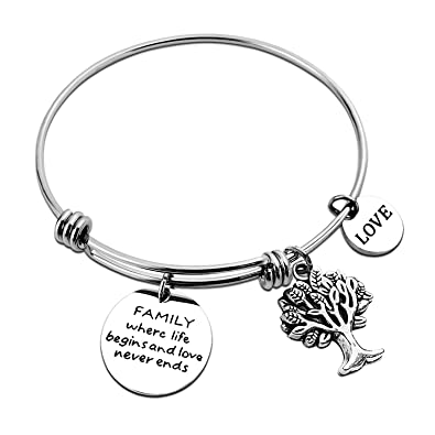 ae2e640eeeb5 ALoveSoul Bride Gifts Family Where Life Begins and Love Never Ends  Inscriptions Bracelet Family Tree Charm
