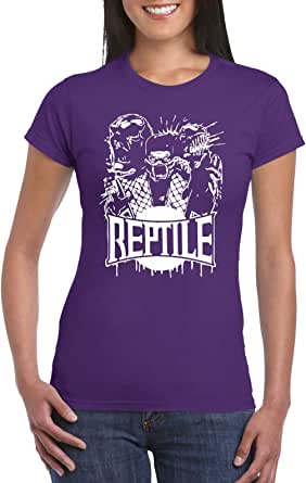 Purple Female Gildan Short Sleeve T-Shirt - Reptile from Mortal kombat design
